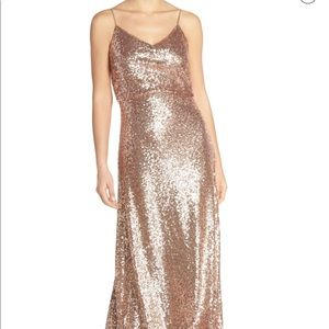 Jenny Yoo Jules Sequin Blouson Gown with Back Cowl